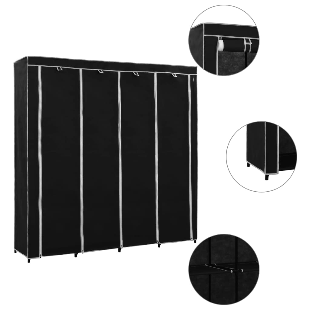 Šatní skříň se 4 přihrádkami černá 175 x 45 x 170 cm