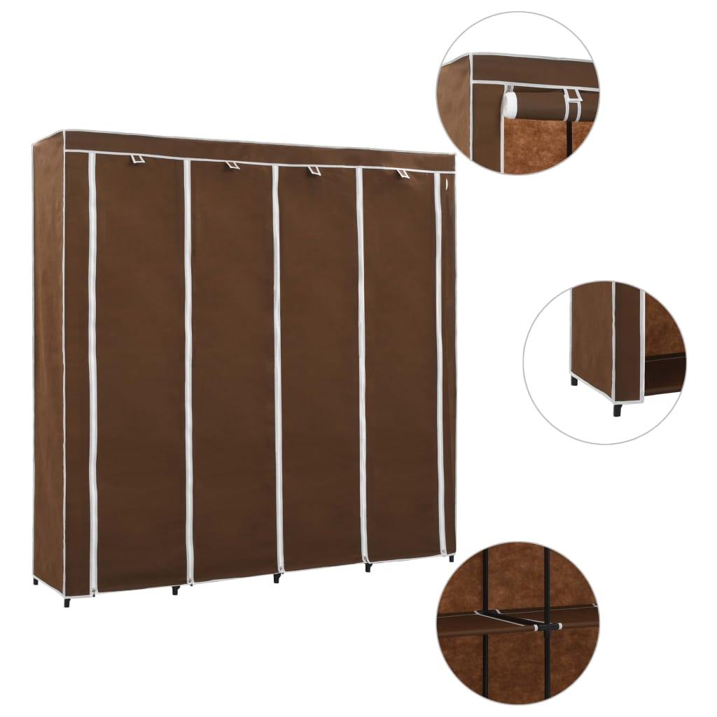 Šatní skříň se 4 přihrádkami hnědá 175 x 45 x 170 cm