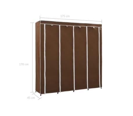 vidaXL Kledingkast met 4 vakken 175x45x170 cm bruin[8/8]