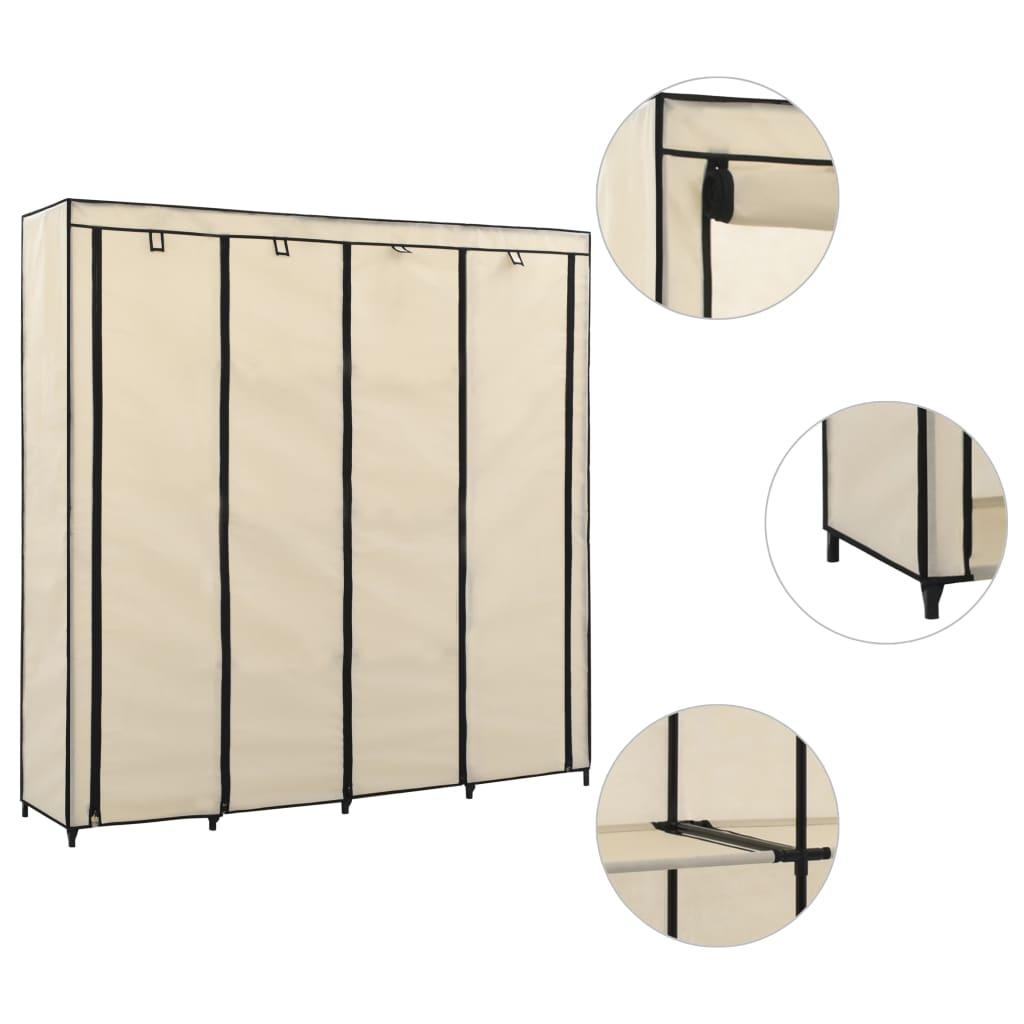 Šatní skříň se 4 přihrádkami krémová 175 x 45 x 170 cm