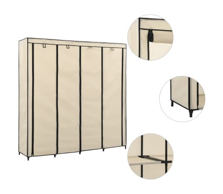 vidaXL Wardrobe with 4 Compartments Cream 175x45x170 cm