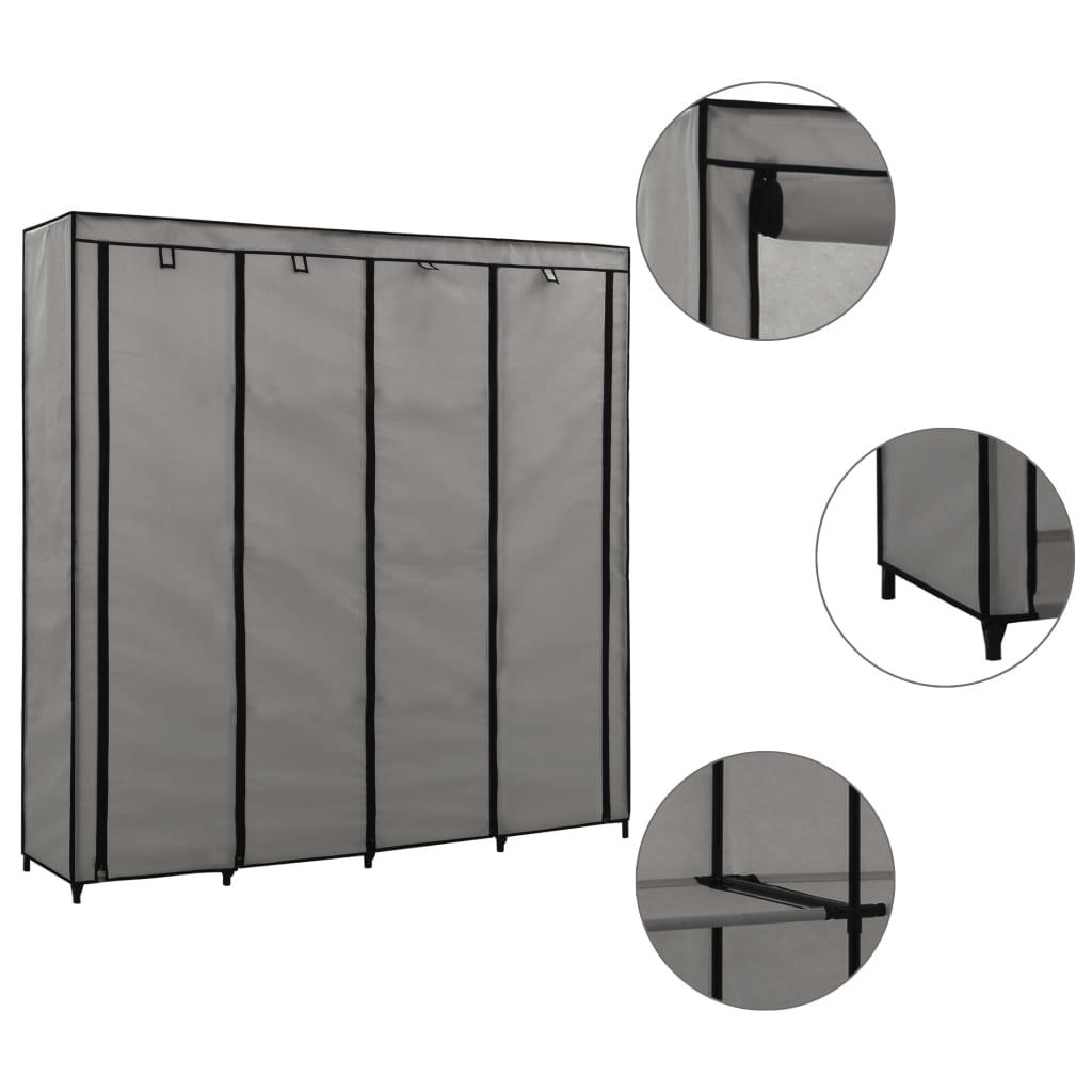 Šatní skříň se 4 přihrádkami šedá 175 x 45 x 170 cm
