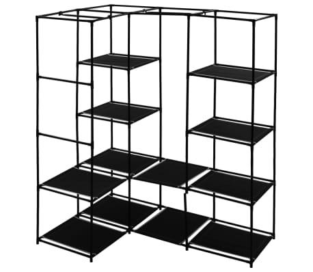 vidaXL Kampinė drabužių spinta, juoda, 130x87x169cm[4/7]