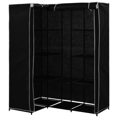vidaXL Kampinė drabužių spinta, juoda, 130x87x169cm[2/7]