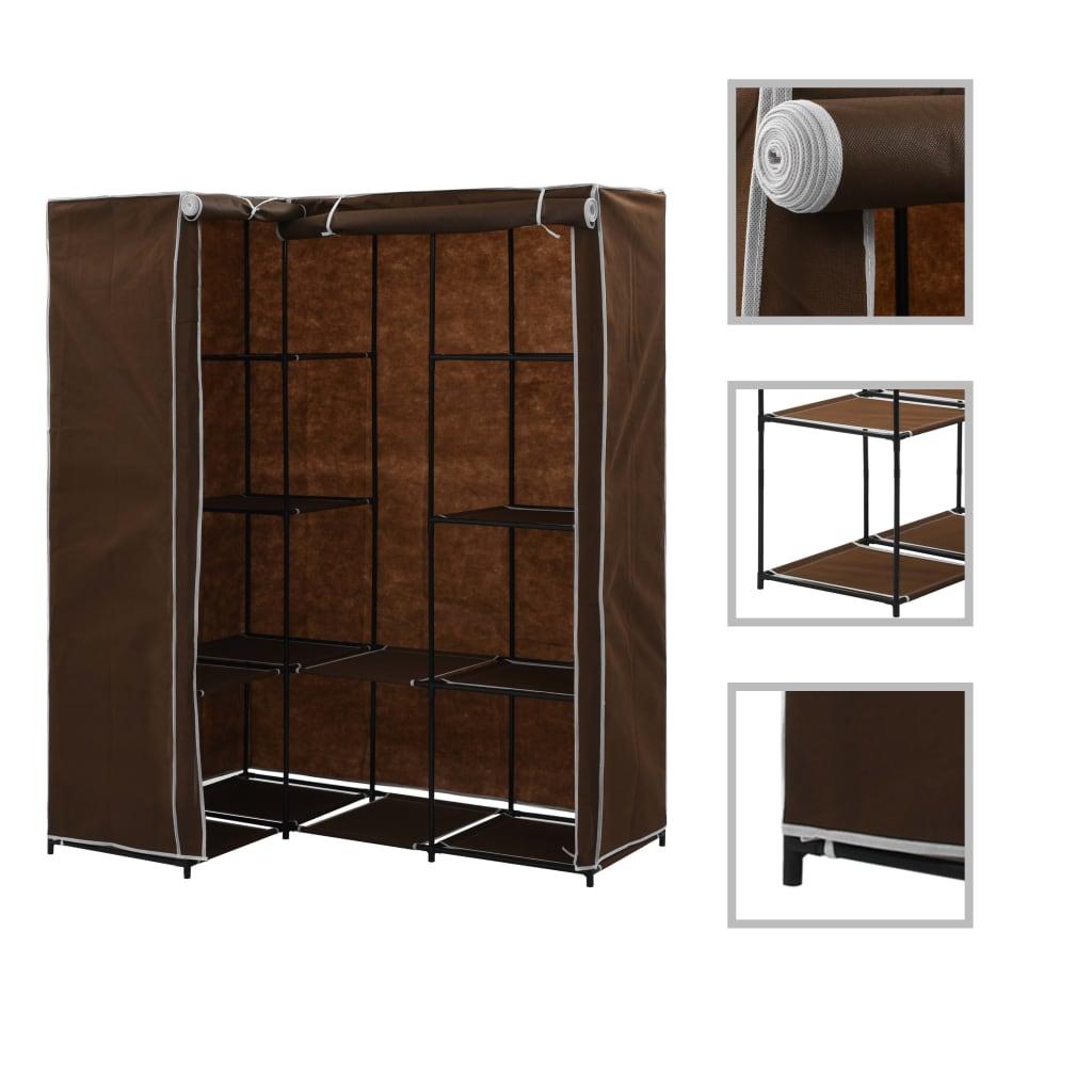 Rohová šatní skříň hnědá 130 x 87 x 169 cm
