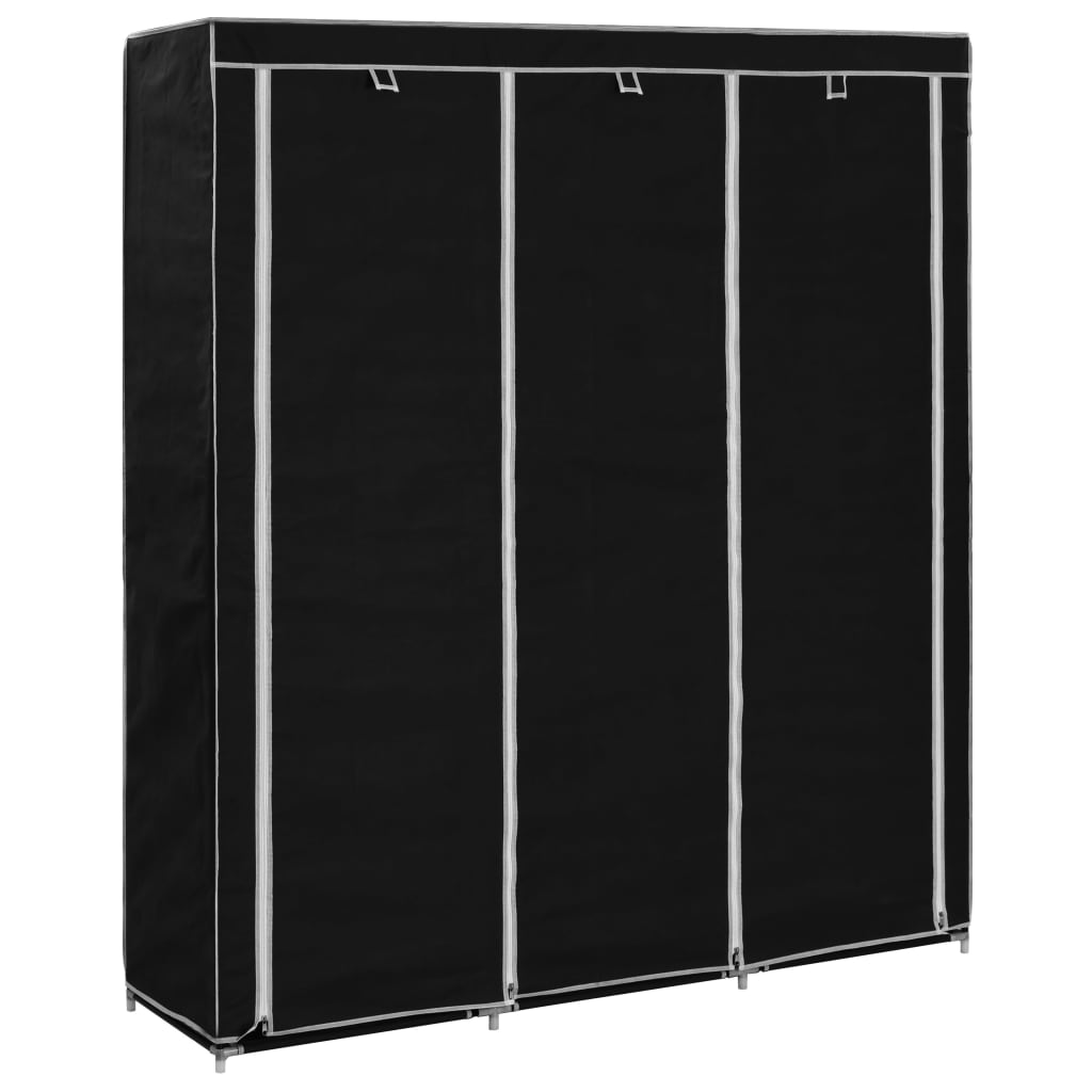 Šatní skříň s přihrádkami a tyčemi černá 150x45x175 cm textil