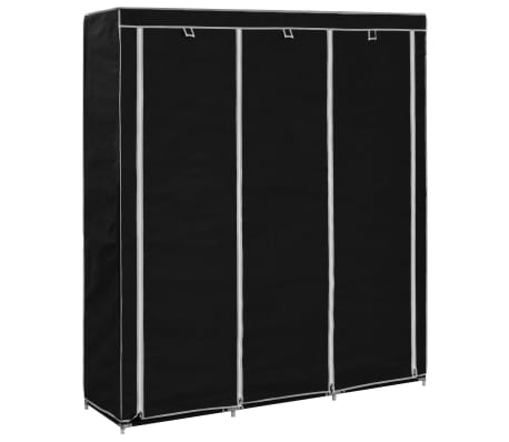 vidaXL Wardrobe with Compartments and Rods Black 150x45x175 cm Fabric