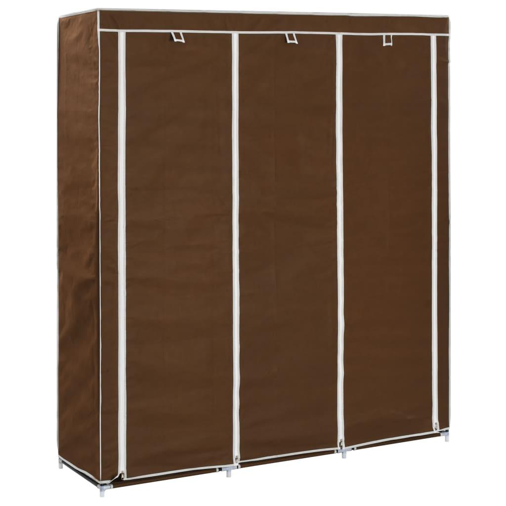 Šatní skříň s přihrádkami a tyčemi hnědá 150x45x175 cm textil