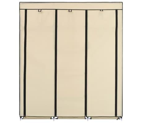 vidaXL Armoire avec compartiments et barres Crème 150x45x175 cm Tissu[3/10]