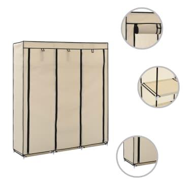 vidaXL Armoire avec compartiments et barres Crème 150x45x175 cm Tissu[2/10]