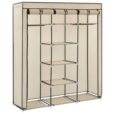 vidaXL Armoire avec compartiments et barres Crème 150x45x175 cm Tissu[4/10]
