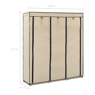 vidaXL Armoire avec compartiments et barres Crème 150x45x175 cm Tissu[10/10]