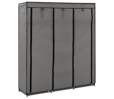 vidaXL Wardrobe with Compartments and Rods Grey 150x45x175 cm Fabric