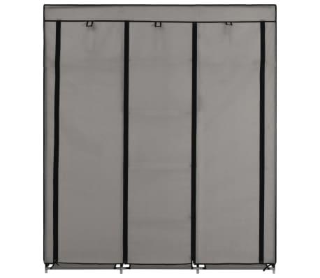 vidaXL Armoire avec compartiments et barres Gris 150x45x175 cm Tissu[3/10]