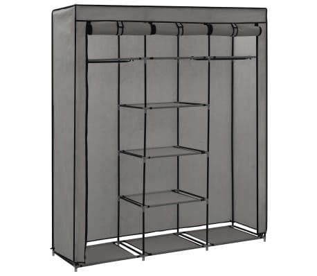 vidaXL Armoire avec compartiments et barres Gris 150x45x175 cm Tissu[4/10]