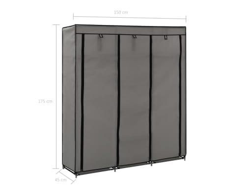 vidaXL Armoire avec compartiments et barres Gris 150x45x175 cm Tissu[10/10]
