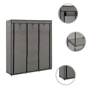 vidaXL Armoire avec compartiments et barres Gris 150x45x175 cm Tissu[2/10]