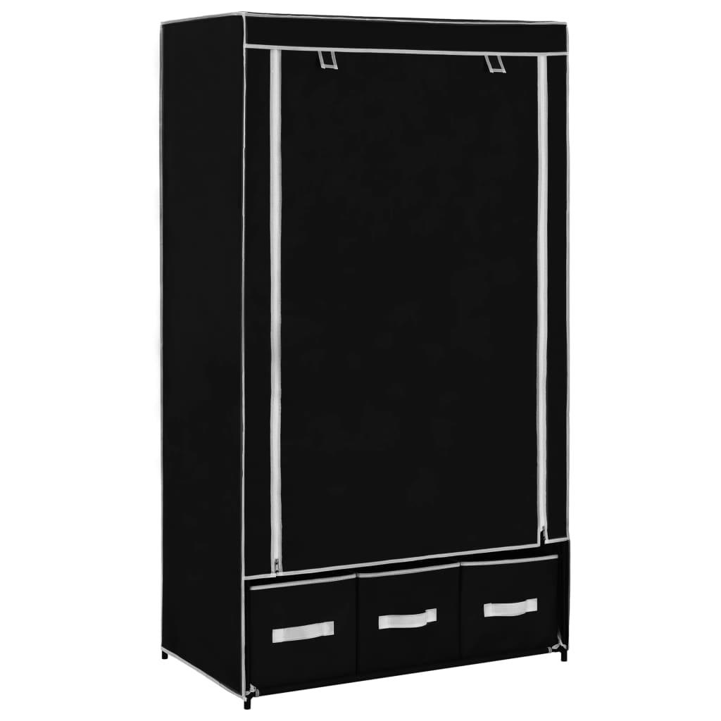 Šatní skříň černá 87 x 49 x 159 cm textil