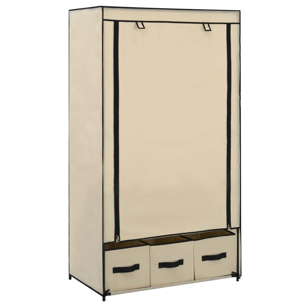 Šatní skříň krémová 87 x 49 x 159 cm textil