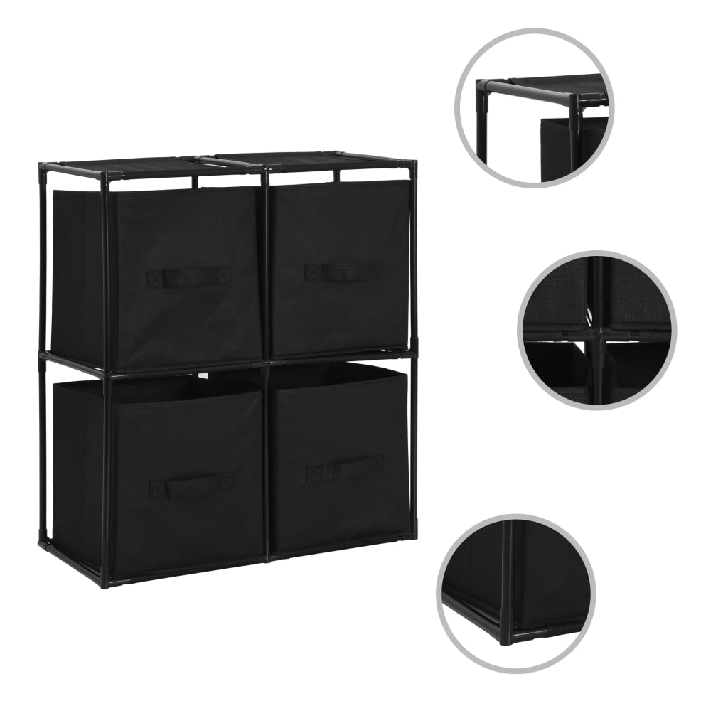 Úložná skříňka se 4 textilními košíky černá 63x30x71 cm ocel