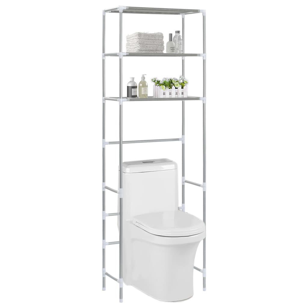 3patrový úložný regál nad WC stříbrný 53 x 28 x 169 cm