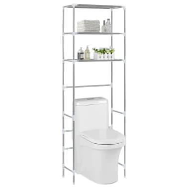 vidaXL Virš tualeto past. lentyna, 3 lent., sidabr. sp., 53x28x169cm[1/8]