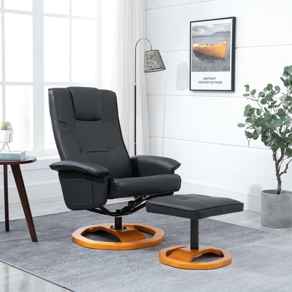 vidaXL Fotel obrotowy z podnóżkiem, czarny, sztuczna skóra