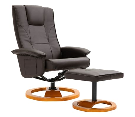 vidaXL Swivel TV Armchair with Foot Stool Brown Faux Leather
