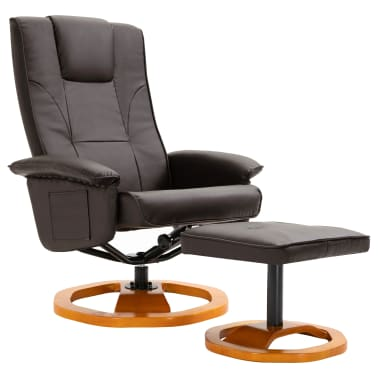 vidaXL Swivel TV Armchair with Foot Stool Brown Faux Leather[2/10]