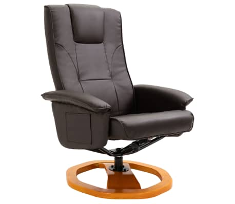 vidaXL Swivel TV Armchair with Foot Stool Brown Faux Leather[3/10]
