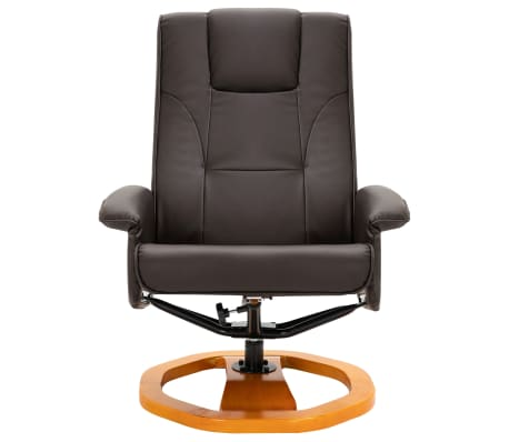 vidaXL Swivel TV Armchair with Foot Stool Brown Faux Leather[4/10]