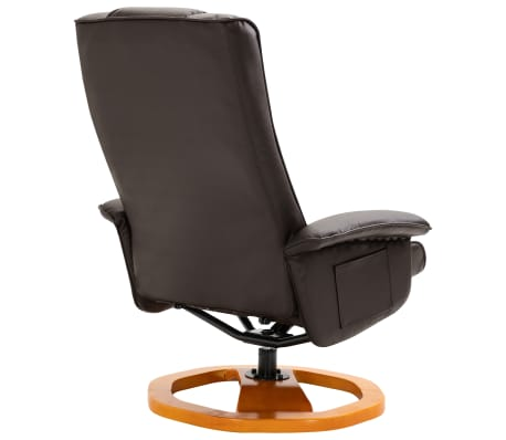 vidaXL Swivel TV Armchair with Foot Stool Brown Faux Leather[6/10]