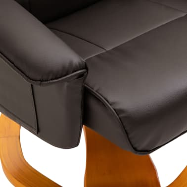 vidaXL Swivel TV Armchair with Foot Stool Brown Faux Leather[8/10]