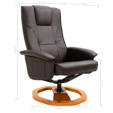 vidaXL Swivel TV Armchair with Foot Stool Brown Faux Leather[9/10]