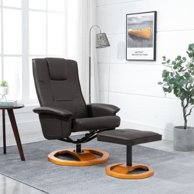 vidaXL Swivel TV Armchair with Foot Stool Brown Faux Leather[1/10]
