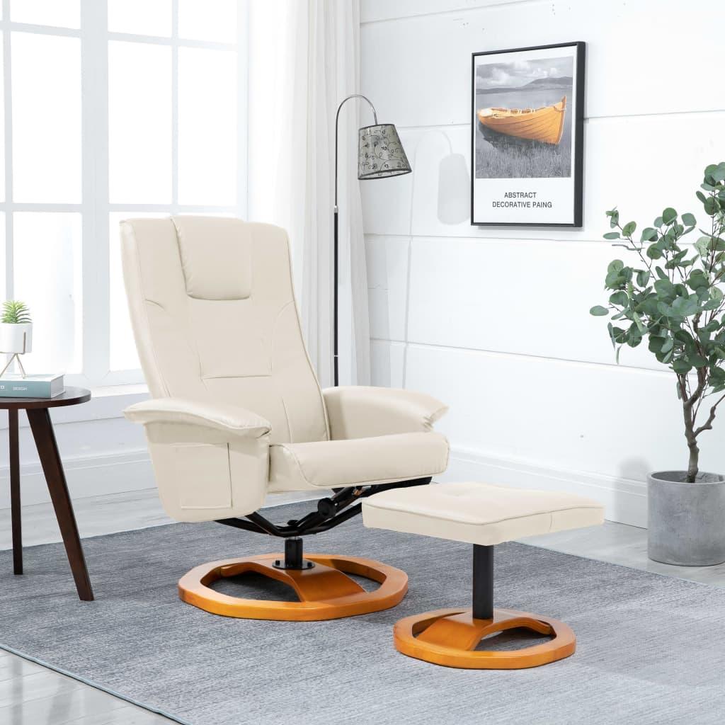 vidaXL Fotel obrotowy z podnóżkiem, kremowy, sztuczna skóra