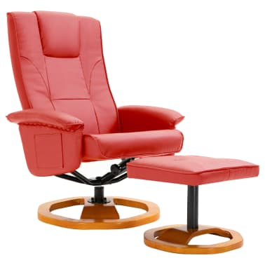 vidaXL Swivel TV Armchair with Foot Stool Red Faux Leather[2/10]