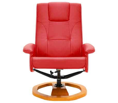 vidaXL Swivel TV Armchair with Foot Stool Red Faux Leather[4/10]
