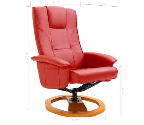 vidaXL Swivel TV Armchair with Foot Stool Red Faux Leather[9/10]