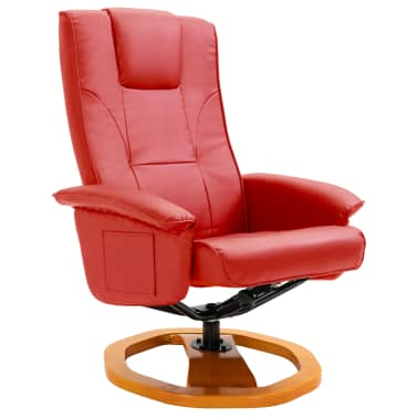 vidaXL Swivel TV Armchair with Foot Stool Red Faux Leather[3/10]