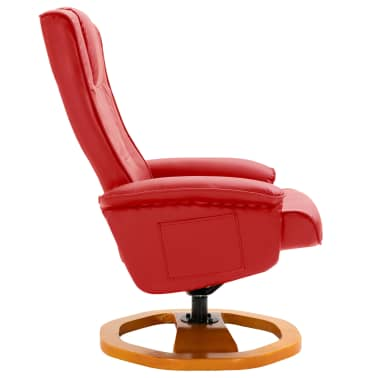 vidaXL Swivel TV Armchair with Foot Stool Red Faux Leather[5/10]