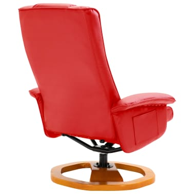 vidaXL Swivel TV Armchair with Foot Stool Red Faux Leather[6/10]