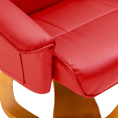 vidaXL Swivel TV Armchair with Foot Stool Red Faux Leather[8/10]