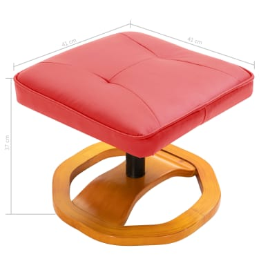 vidaXL Swivel TV Armchair with Foot Stool Red Faux Leather[10/10]