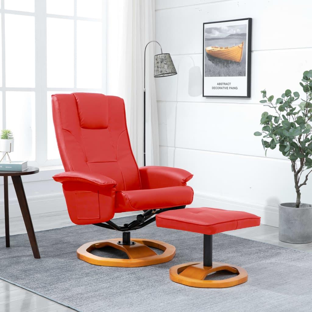 vidaXL Fotel obrotowy z podnóżkiem, czerwony, sztuczna skóra