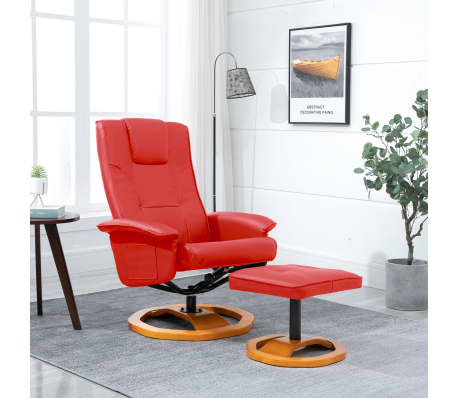 vidaXL Swivel TV Armchair with Foot Stool Red Faux Leather[1/10]