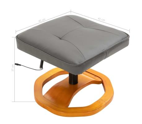 vidaXL Masažinis krėslas su pakoja, pilkos spalvos, dirbtinė oda[12/12]