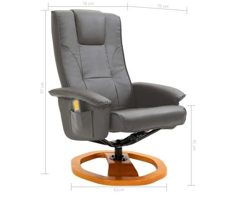 vidaXL Masažinis krėslas su pakoja, pilkos spalvos, dirbtinė oda[11/12]