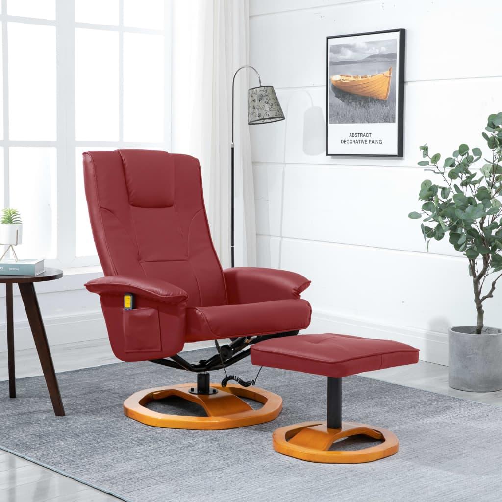 vidaXL Fotel masujący z podnóżkiem, czerwone wino, sztuczna skóra