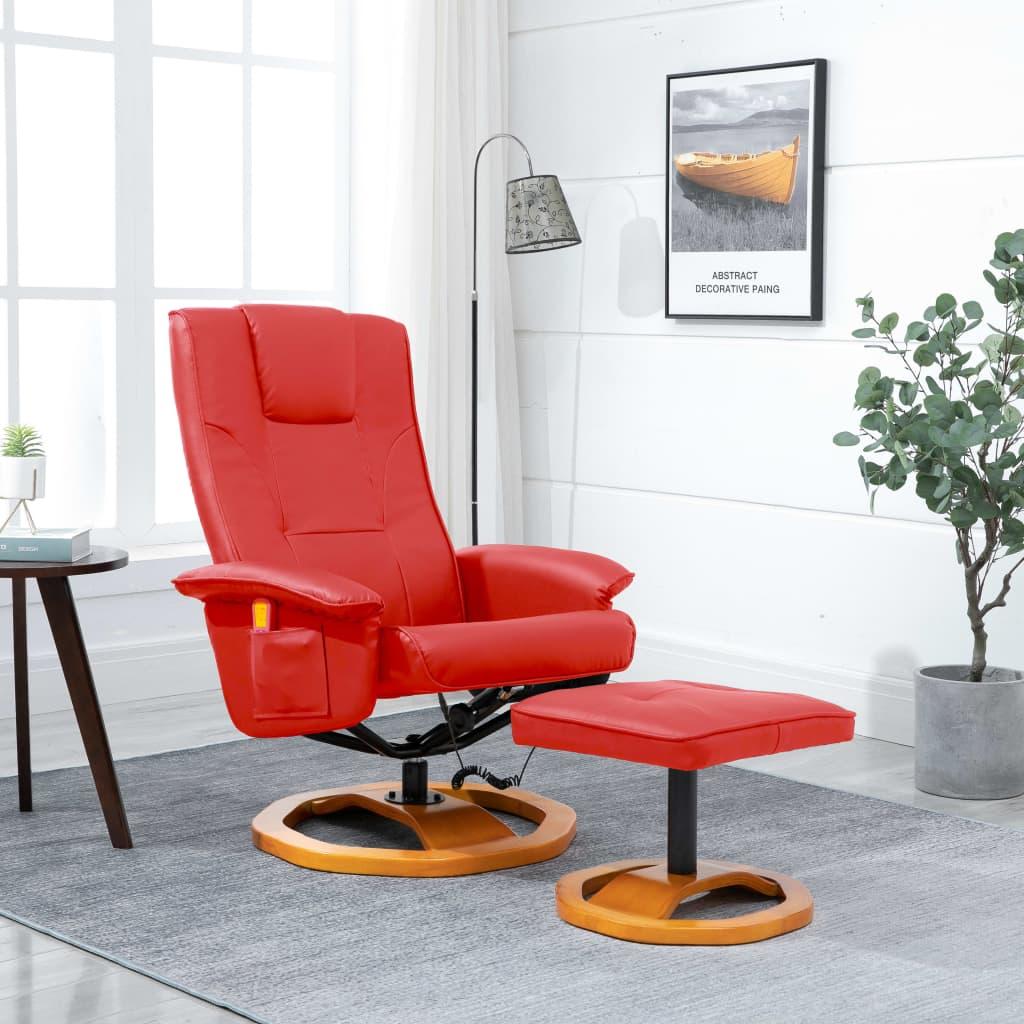 vidaXL Fotel masujący z podnóżkiem, czerwony, sztuczna skóra